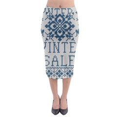 Christmas Elements With Knitted Pattern Vector   Midi Pencil Skirt