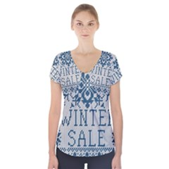 Christmas Elements With Knitted Pattern Vector   Short Sleeve Front Detail Top