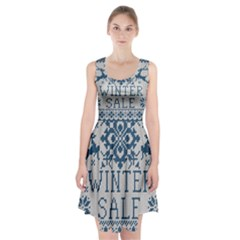 Christmas Elements With Knitted Pattern Vector   Racerback Midi Dress