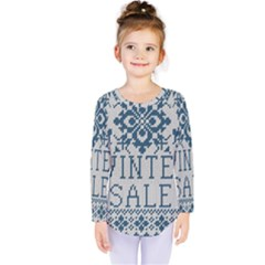 Christmas Elements With Knitted Pattern Vector   Kids  Long Sleeve Tee