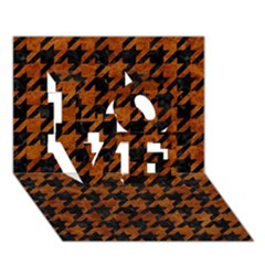 Houndstooth1 Black Marble & Brown Marble Love 3d Greeting Card (7x5)