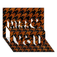 Houndstooth1 Black Marble & Brown Marble Miss You 3d Greeting Card (7x5)