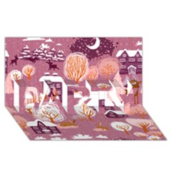 Cute Christmas Seamless Pattern PARTY 3D Greeting Card (8x4)