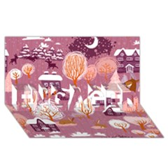 Cute Christmas Seamless Pattern Engaged 3d Greeting Card (8x4)