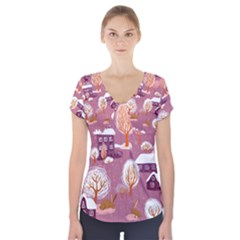 Cute Christmas Seamless Pattern Short Sleeve Front Detail Top