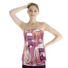 Cute Christmas Seamless Pattern Strapless Top