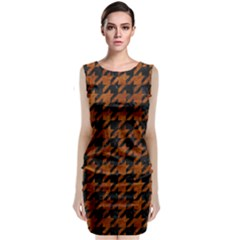 Houndstooth1 Black Marble & Brown Marble Classic Sleeveless Midi Dress