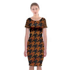 Houndstooth1 Black Marble & Brown Marble Classic Short Sleeve Midi Dress