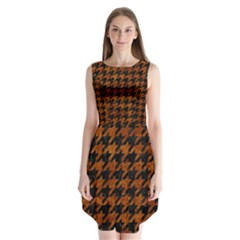 Houndstooth1 Black Marble & Brown Marble Sleeveless Chiffon Dress