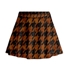 Houndstooth1 Black Marble & Brown Marble Mini Flare Skirt