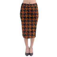 Houndstooth1 Black Marble & Brown Marble Midi Pencil Skirt
