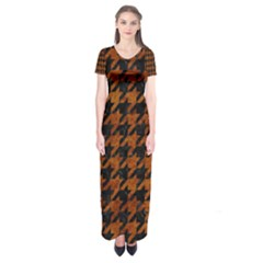 Houndstooth1 Black Marble & Brown Marble Short Sleeve Maxi Dress