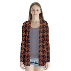 Houndstooth1 Black Marble & Brown Marble Drape Collar Cardigan