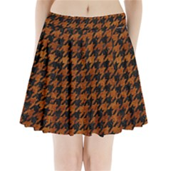 Houndstooth1 Black Marble & Brown Marble Pleated Mini Skirt