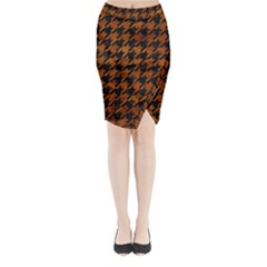 Houndstooth1 Black Marble & Brown Marble Midi Wrap Pencil Skirt