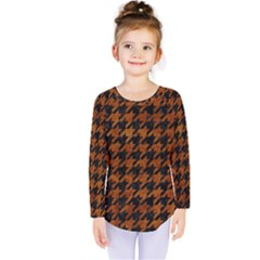 Houndstooth1 Black Marble & Brown Marble Kids  Long Sleeve Tee