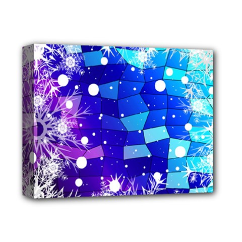 Christmas Snowflake With Shiny Polygon Background Vector Deluxe Canvas 14  X 11