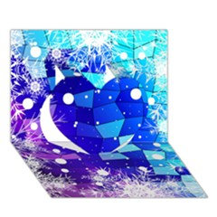 Christmas Snowflake With Shiny Polygon Background Vector Heart 3d Greeting Card (7x5)