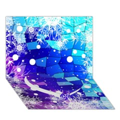 Christmas Snowflake With Shiny Polygon Background Vector Heart Bottom 3d Greeting Card (7x5)