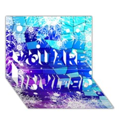 Christmas Snowflake With Shiny Polygon Background Vector YOU ARE INVITED 3D Greeting Card (7x5)