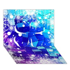 Christmas Snowflake With Shiny Polygon Background Vector Clover 3D Greeting Card (7x5)