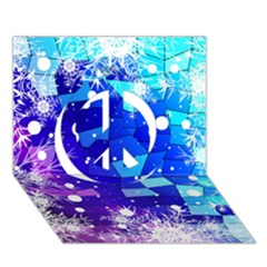 Christmas Snowflake With Shiny Polygon Background Vector Peace Sign 3d Greeting Card (7x5)