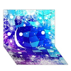 Christmas Snowflake With Shiny Polygon Background Vector Circle 3d Greeting Card (7x5)