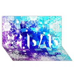 Christmas Snowflake With Shiny Polygon Background Vector #1 Dad 3d Greeting Card (8x4)