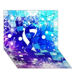 Christmas Snowflake With Shiny Polygon Background Vector Ribbon 3D Greeting Card (7x5)