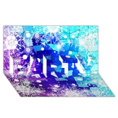 Christmas Snowflake With Shiny Polygon Background Vector Party 3d Greeting Card (8x4)
