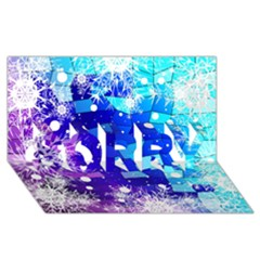 Christmas Snowflake With Shiny Polygon Background Vector Sorry 3d Greeting Card (8x4)