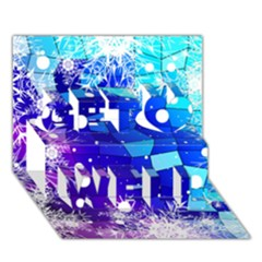 Christmas Snowflake With Shiny Polygon Background Vector Get Well 3d Greeting Card (7x5)