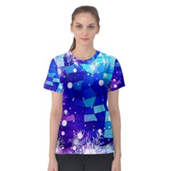 Christmas Snowflake With Shiny Polygon Background Vector Women s Sport Mesh Tee