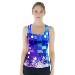 Christmas Snowflake With Shiny Polygon Background Vector Racer Back Sports Top