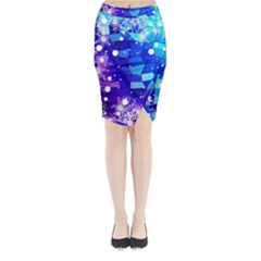 Christmas Snowflake With Shiny Polygon Background Vector Midi Wrap Pencil Skirt