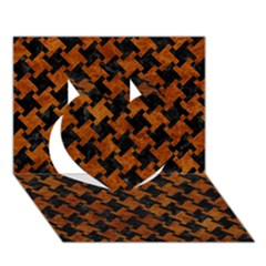 Houndstooth2 Black Marble & Brown Marble Heart 3d Greeting Card (7x5)