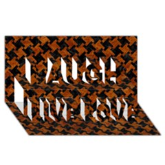 Houndstooth2 Black Marble & Brown Marble Laugh Live Love 3d Greeting Card (8x4)