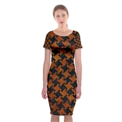 Houndstooth2 Black Marble & Brown Marble Classic Short Sleeve Midi Dress