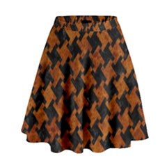 Houndstooth2 Black Marble & Brown Marble High Waist Skirt