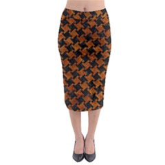 Houndstooth2 Black Marble & Brown Marble Midi Pencil Skirt