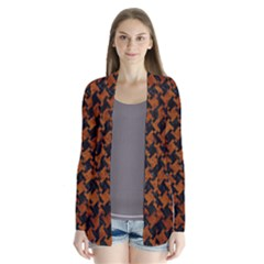 Houndstooth2 Black Marble & Brown Marble Drape Collar Cardigan