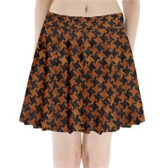 Houndstooth2 Black Marble & Brown Marble Pleated Mini Skirt