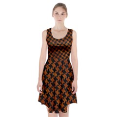 Houndstooth2 Black Marble & Brown Marble Racerback Midi Dress