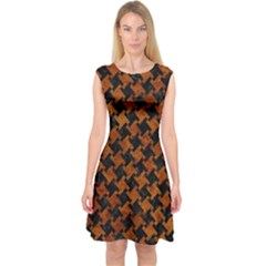 Houndstooth2 Black Marble & Brown Marble Capsleeve Midi Dress