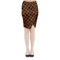 Houndstooth2 Black Marble & Brown Marble Midi Wrap Pencil Skirt