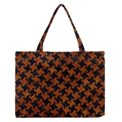 Houndstooth2 Black Marble & Brown Marble Medium Zipper Tote Bag