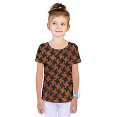 Houndstooth2 Black Marble & Brown Marble Kids  One Piece Tee