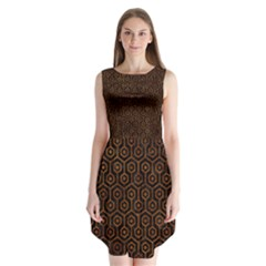 Hexagon1 Black Marble & Brown Marble Sleeveless Chiffon Dress