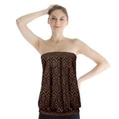 Hexagon1 Black Marble & Brown Marble Strapless Top