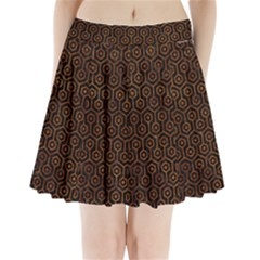 Hexagon1 Black Marble & Brown Marble Pleated Mini Skirt